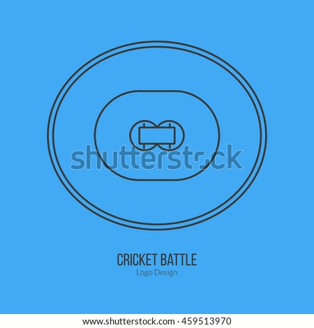 Cricket field. Single logo in modern thin line style isolated on blue background. Outline cricket game symbol. Simple mono linear pictogram. Stroke vector logotype template. - stock vector