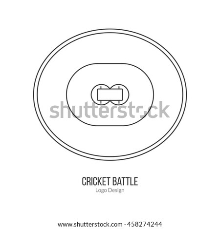 Cricket field. Single logo in modern thin line style isolated on white background. Outline cricket game symbol. Simple mono linear pictogram. Stroke vector logotype template. - stock vector