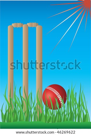 cricket grass and blue background - stock vector