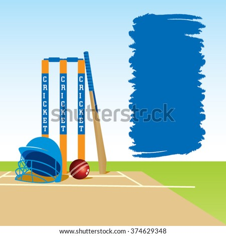 cricket ground with stump bat and ball , with message board design vector - stock vector