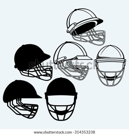Cricket helmet. Isolated on blue background - stock vector