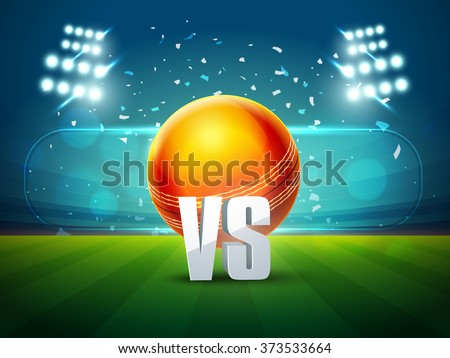 Cricket Match schedule concept with illustration of glossy ball on stadium lights background. - stock vector
