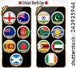 Cricket 2015 match schedule, cricket world cup team - vector eps10 - stock photo