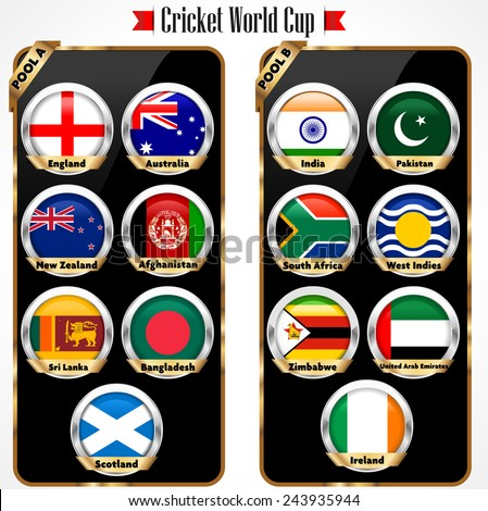 Cricket 2015 match schedule, cricket world cup team - vector eps10 - stock vector