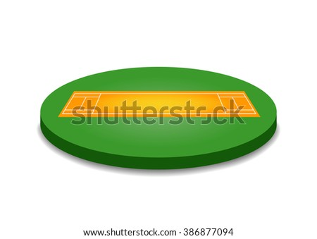 Cricket pitch vector illustration isolated on white background. - stock vector