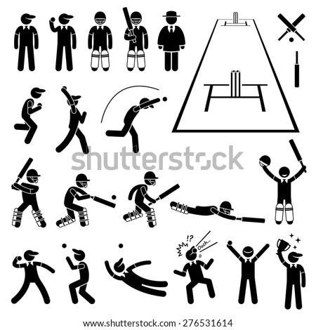 Cricket Player Actions Poses Stick Figure Pictogram Icons - stock vector