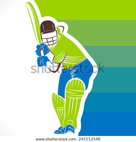 cricket player ready for hitting ball with colorful banner  background vector - stock vector