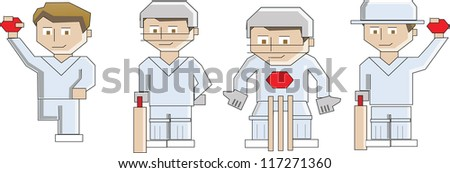 Cricket players - stock vector
