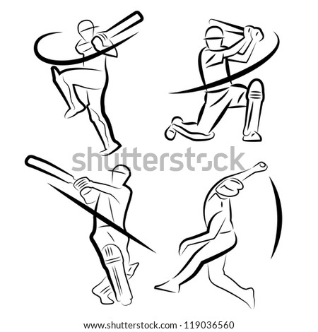 Bowling Cricket Drawing Cricket Players Outline