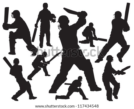 cricket players silhouette - stock vector