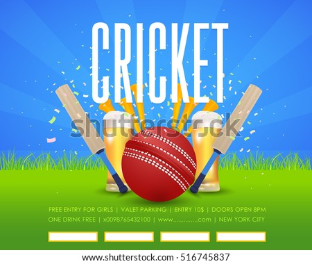 Cricket Poster Event Info Postcard Design and Sports Ad Web Banner or Horizontal Card Template, Cricketer Ball and Stick Illustration. Sports Vector Background