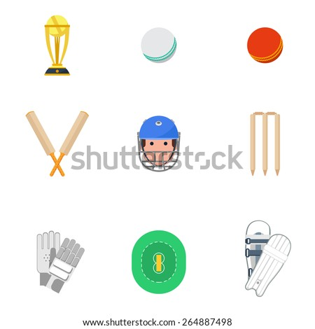 Cricket sport game icons set with protective leg guard and helmet and trophy abstract isolated vector illustration - stock vector