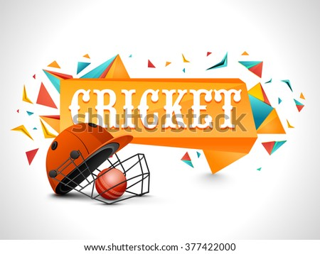 Cricket Sports concept with illustration of batsman helmet and glossy ball on abstract grey background. - stock vector