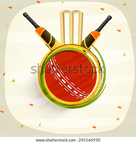 Cricket sports concept with shiny bats, red ball and wicket stumps on stylish background. - stock vector
