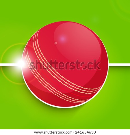 Cricket sports concept with shiny red ball on green background.