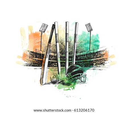 Cricket stadium with ball bell freehand sketch graphic design, vector illustration