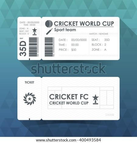 Cricket ticket card design. Vector illustration. - stock vector