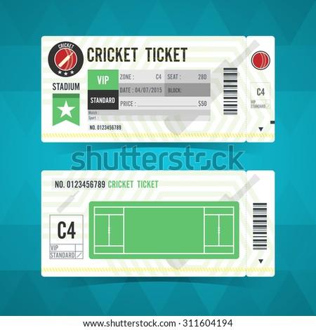 Cricket ticket card modern design. Vector illustration - stock vector