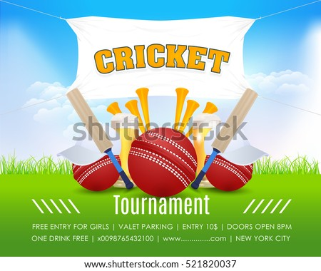 Cricket Vertical Poster Event Info Postcard Design and Sports Ad Web Banner or Card Template, Cricketer Ball and Stick Illustration. Sports Vector Background