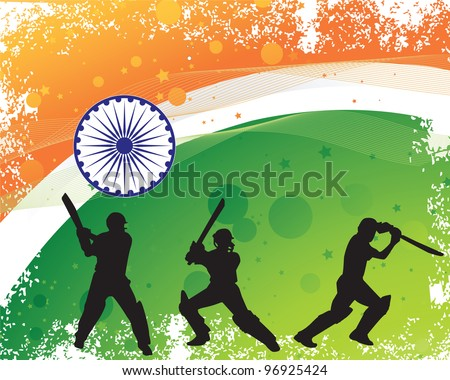 cricketer silhouette on grunge textured Indian flag background - stock vector