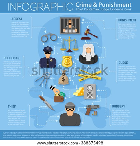 Crime and Punishment Infographics in Flat style icons such as Thief, Money, Gavel, Scales, Policeman, Judge, Handcuffs and Prison. Vector for Brochure, Web Site and Advertising.