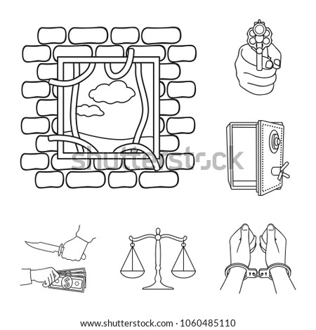 Crime Punishment Outline Icons Set Collection Stock Vector