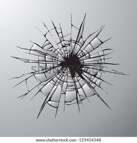 Crime busted circle break gray crystal pane isolated on white backdrop. Freehand outline ink hand drawn picture sketchy in art doodle retro graphic style pen on paper. Closeup view with space for text
