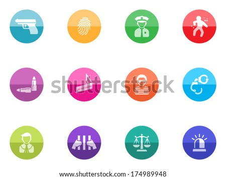 Crime icons in color circles. - stock vector