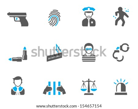 Crime icons in duo tone colors - stock vector