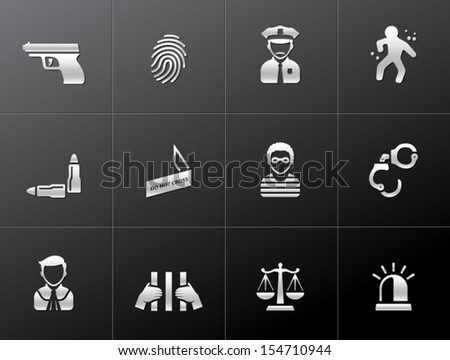 Crime icons in metallic style - stock vector