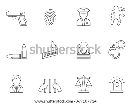 Crime icons in thin outlines.  - stock vector