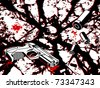 Crime scene background with gun and bullets - stock vector