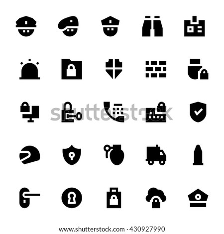 Crime, Security and Defence Vector Icons 1 - stock vector