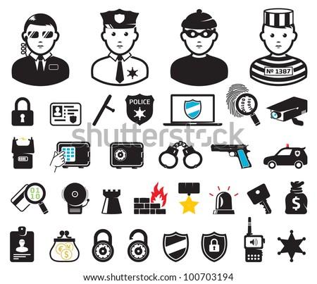 Crime world symbols, set - stock vector