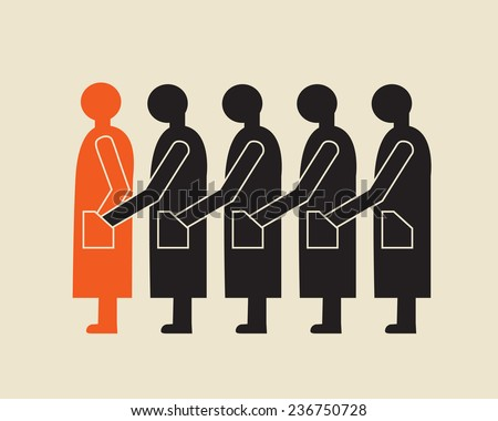 criminal chain of thieves stealing from pocket of predecessor - stock vector