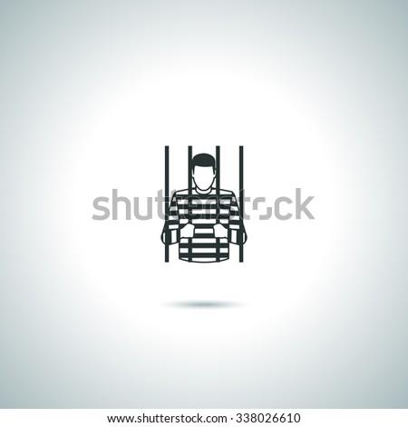 Criminal prisoner vector icons on white background - stock vector