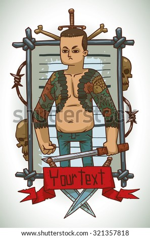 Criminal with tattoo, frame, vector - stock vector