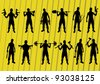 Criminals and outlaws silhouettes illustration collection background vector - stock vector