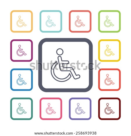 cripple flat icons set. Open colorful buttons  - stock vector