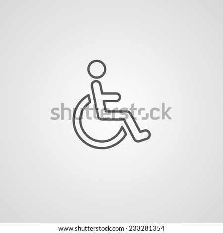 cripple outline thin symbol, dark on white background, logo editable, creative template  - stock vector