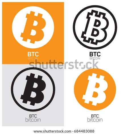 Cripto Currency Bitcoin Flat Vector Logo Icon For Web Sticker Print Popular