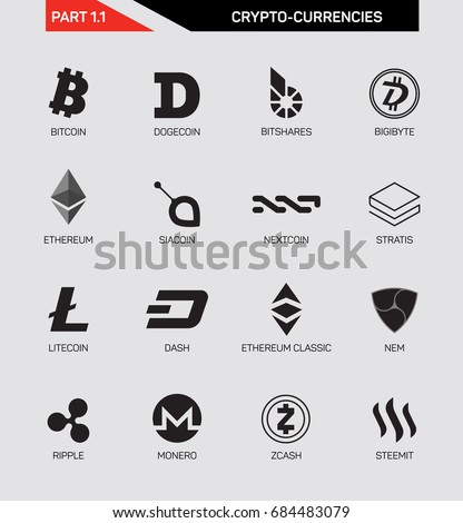 Cripto Currency Logo Set Bitcoin Litecoin Ripple Zcash Monero Nextcoin