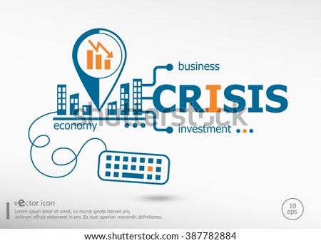 Crisis and marketing concept. Crisis concept for application development, creative process. - stock vector