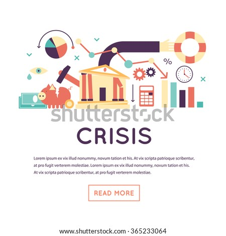 Crisis economic, falling graph of a stock market, financial crisis, bankruptcy. Flat design vector illustration isolated on white background.  - stock vector
