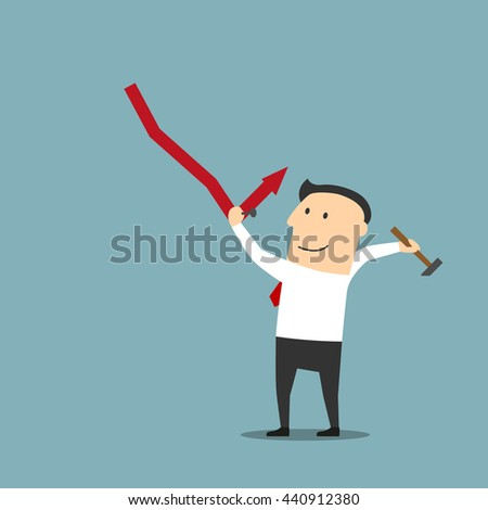 Crisis management, adjustment and control concept design. Smart cartoon businessman fixing decreasing financial graph with hammer and nails - stock vector