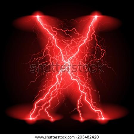 Criss-cross lines of branchy bright red lightning. - stock vector