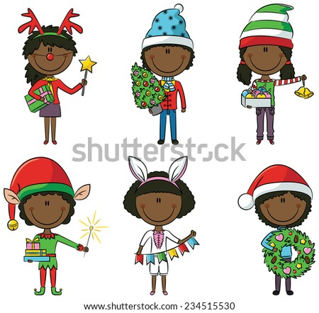 Cristmas African-American children with gifts and decorations - stock vector