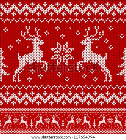 Cristmas ornament: Sweater with deers - stock vector