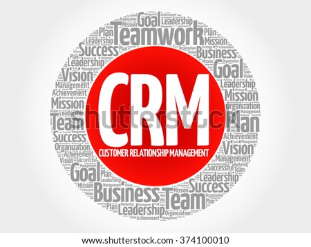 CRM - Customer Relationship Management circle word cloud, business concept - stock vector
