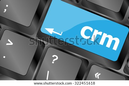 crm keyboard keys (button) on computer pc, vector illustration